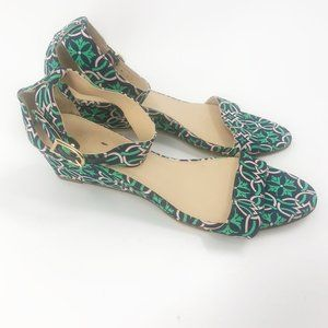 J. Crew Lillian Fabric Wedges Navy and Green Size 7.5